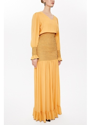 Societa Süs Dikişli Uzun Elbise 92920 Hardal